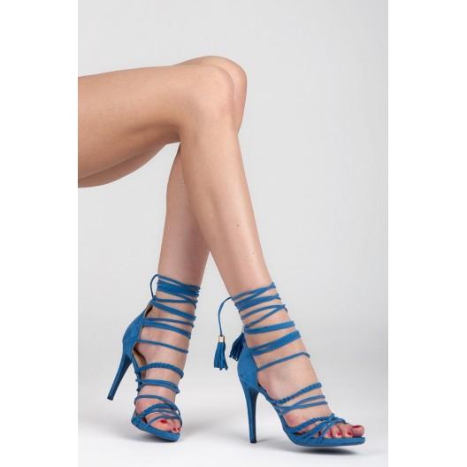 Letné dámske sandále v modrej farbe