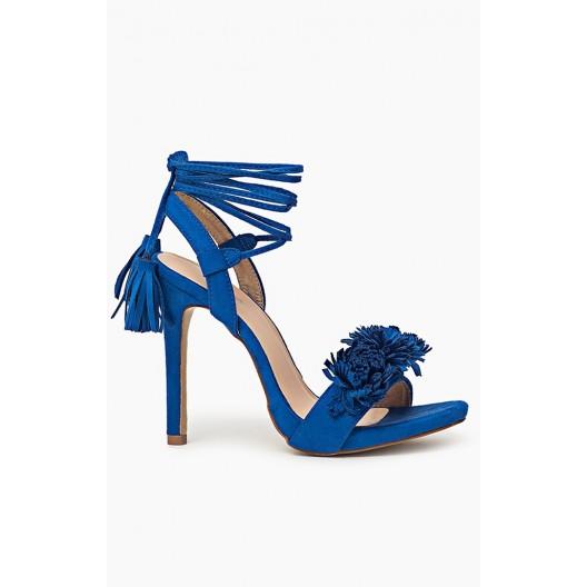 Modré letné dámske sandále s viazaním okolo nohy