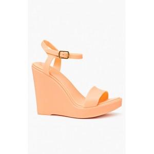 Dámske oranžové vysoké sandále