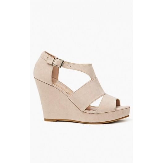 Trendy béžové dámske sandále so zapínaním na boku