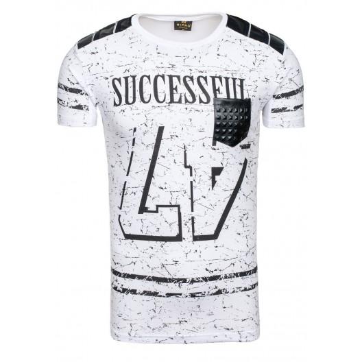 Pánske tričko bielej farby s vreckom na prednej strane