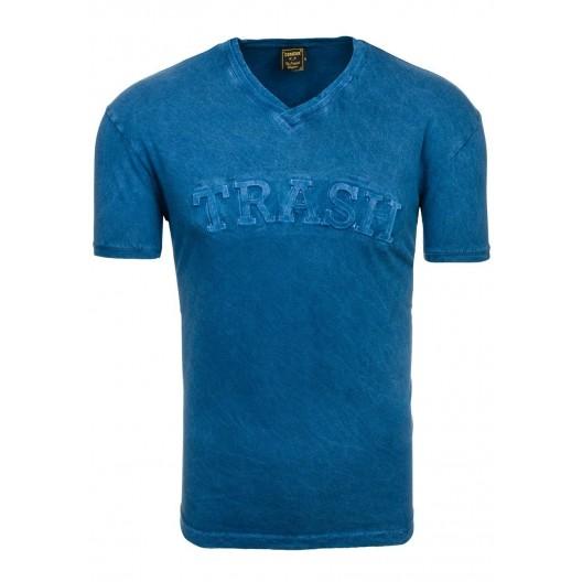 Tričká pre mužov v tmavomodrej farbe s výstrihom do V