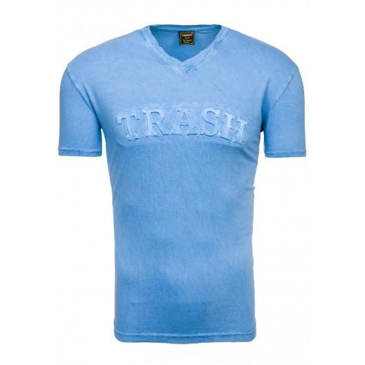 Pánske tričko s nápisom TRASH v svetlomodrej farbe