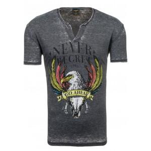 Štýlové pánske tričko v čiernej farbe s motívom sokola