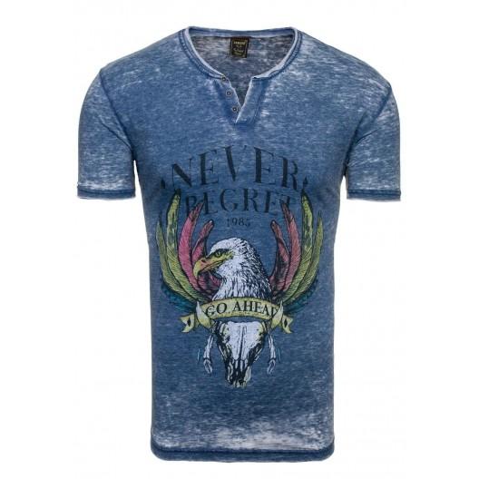Sexi pánske tričko v tmavomodrej farbe s výstrihom do V