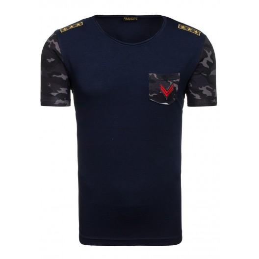 Pánske tričko s okrúhlym výstrihom v tmavomodrej farbe