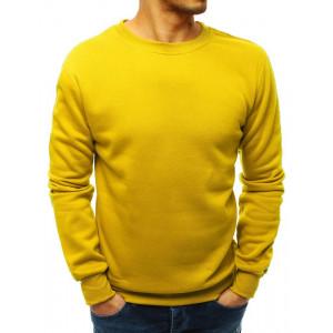 Jednofarebná pánska žltá mikina basic