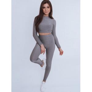 Štýlová dámska jednofarebná športová súprava v sivej farbe