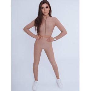 Krásna dámska športová elastická súprava v béžovej farbe