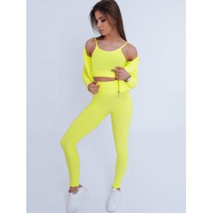Krásna dámska športová 3v1 elastická súprava v žltej farbe
