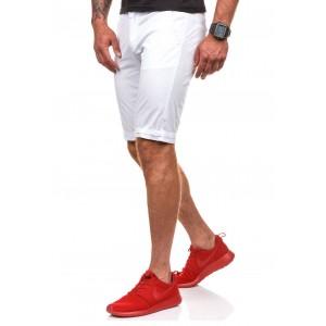 Športovo elegantné pánske šortky v bielej farbe