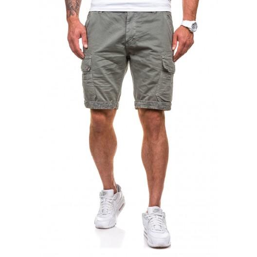 Bavlnené pánske šortky v khaki farbe
