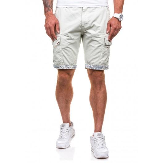 Športovo elegantné pánske šortky v ecru farbe