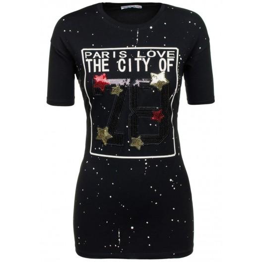 Čierne dámske letné tričko s bielymi bodkami