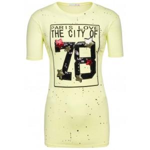 Cool dámske tričká žltej farby s veľkým číslom 78