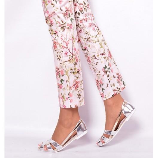 Strieborné štýlové sandále pre dámy