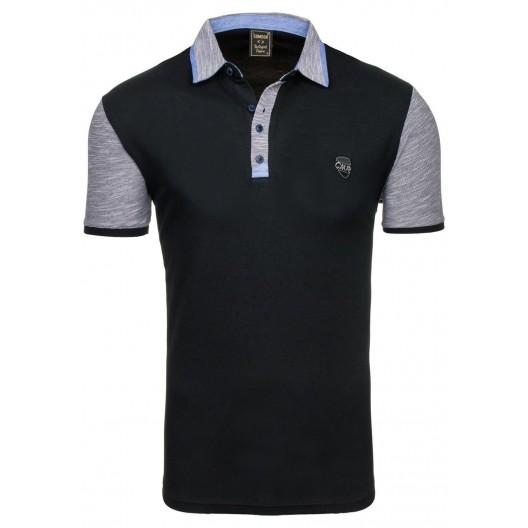 Pánske polo tričko čiernej farby s krátkym sivým rukávom