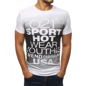 SKLADOM XXL Biele pánske tričko v pohodlnom strihu s potlačou