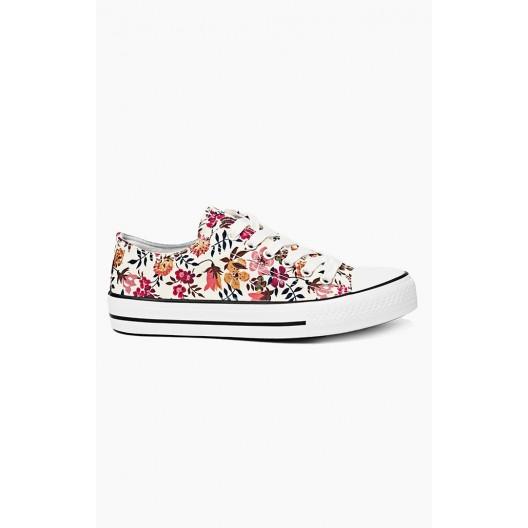 Športová obuv pre dámy v bielej farbe s kvetinovým motívom