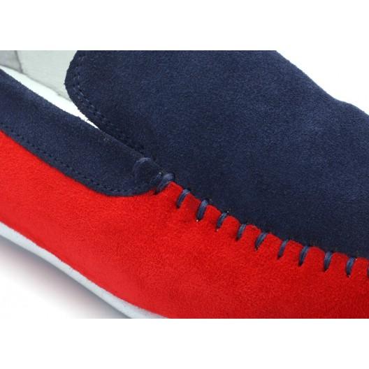 Pánske červeno modré mokasíny COMODO E SANO