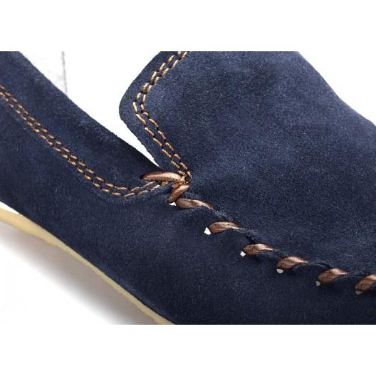Modré pánske kožené mokasíny COMODO E SANO s hnedým prešívaním