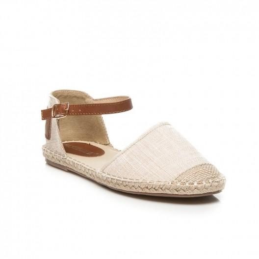 Dámska obuv hnedo béžovej farby s pletenou špičkou