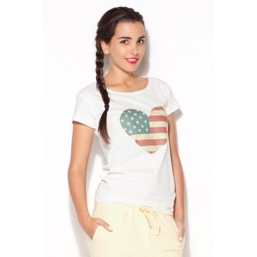 Biele letné tričko pre ženy s motívom americkej vlajky v tvare srdca