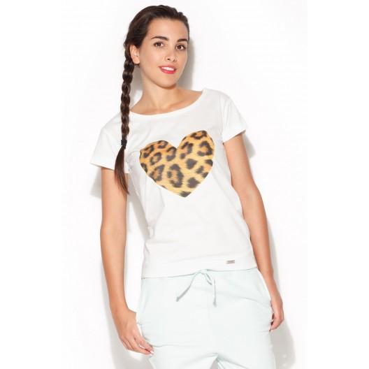 Dámske tričká s krátkym rukávom v bielej farbe s tigrovaným srdcom