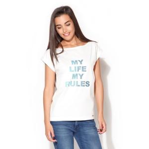 Cool dámske tričká bielej farby s farebným nápisom