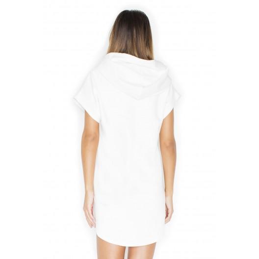 Módne biele dámske šaty s kapucňou