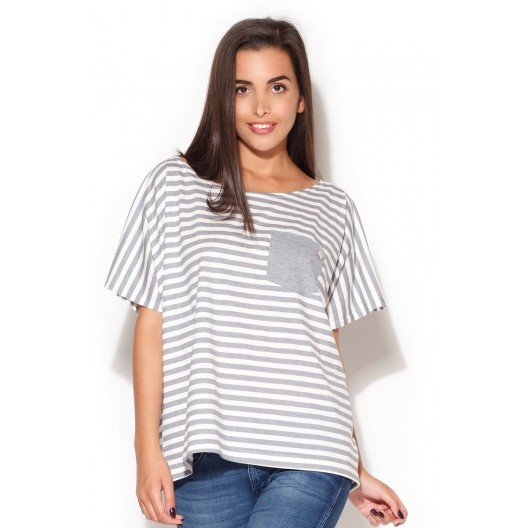 Letné dámske tričká bielej farby so sivými pásikmi