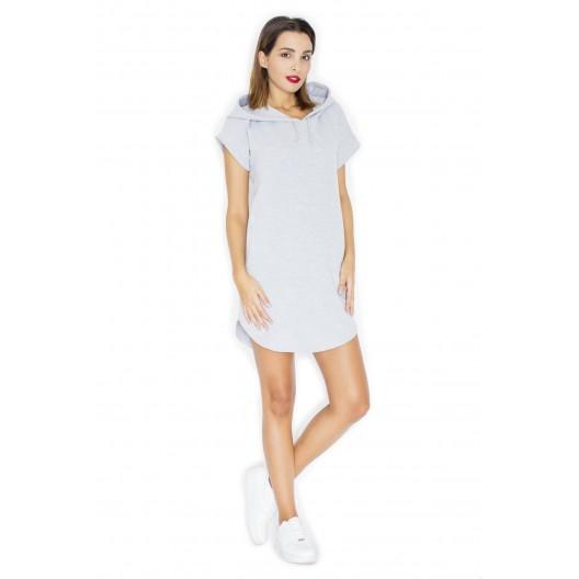 Dámske šaty sivej farby s kapucňou