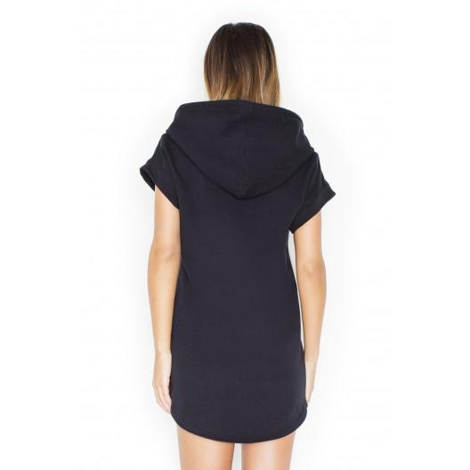 Krásne dámske šaty čiernej farby na leto s kapucňou