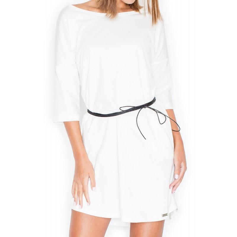 e3ee4f232d87 Letné šaty biele pre ženy s čiernym opaskom - fashionday.eu