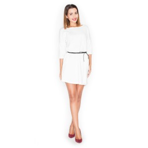 Letné šaty biele pre ženy s čiernym opaskom
