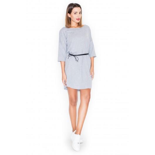 Sivé dámske šaty moderné s opaskom