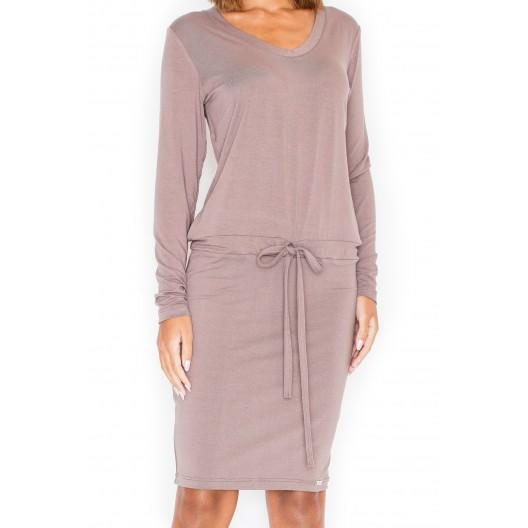 Hnedé dámske ležérne šaty s dlhým rukávom
