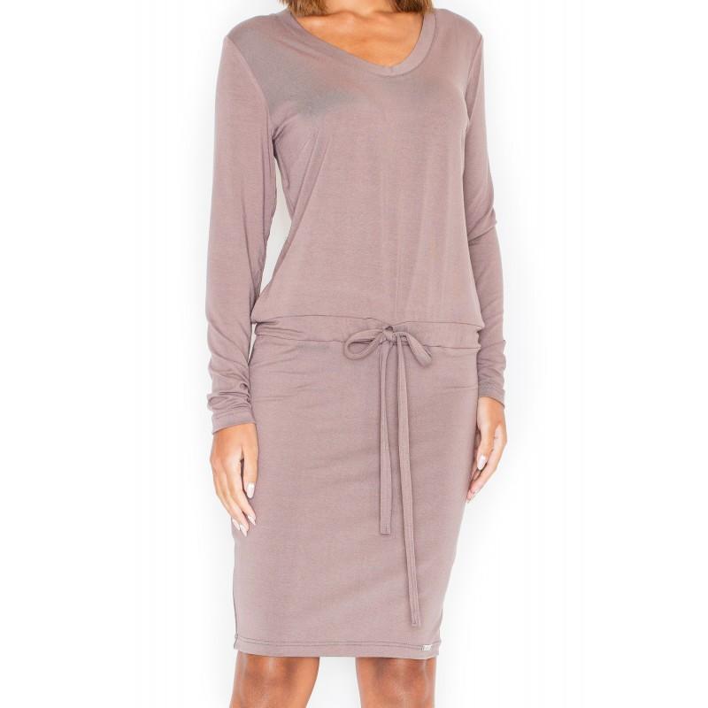 83e2e6f3a5e3 Hnedé dámske ležérne šaty s dlhým rukávom - fashionday.eu