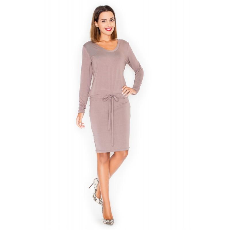 Hnedé dámske ležérne šaty s dlhým rukávom - fashionday.eu a52f900abaf
