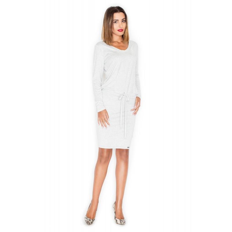 b4b61a243c Letné šaty v bielo sivej farbe s dlhým rukávom - fashionday.eu