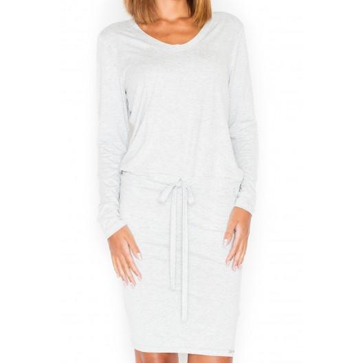 Letné šaty v sivej farbe s dlhým rukávom