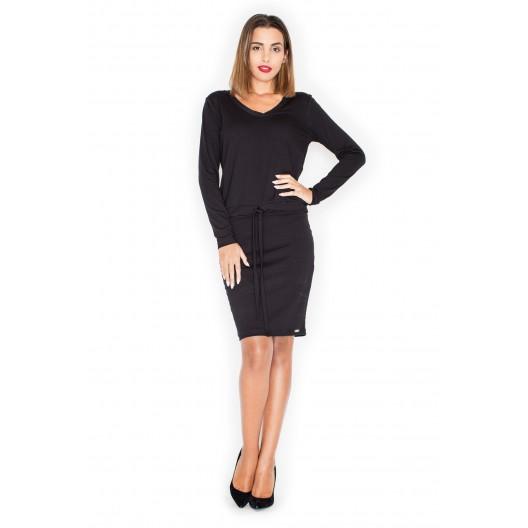 Moderné dámske šaty čierne s dlhým rukávom