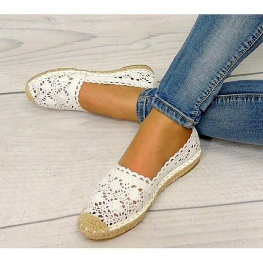 Dámska háčkovaná obuv biele espadrilky