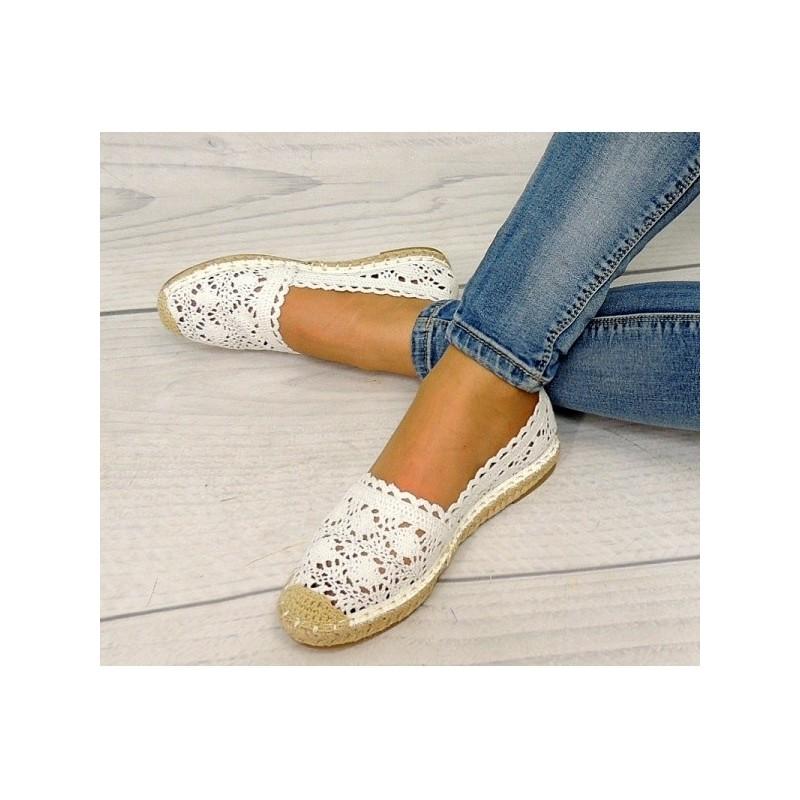 afaeeb939b31 Dámska háčkovaná obuv biele espadrilky - fashionday.eu