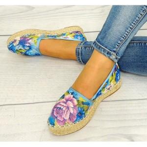 Letné espadrilky dámske v modrej farbe s motívom kvetov
