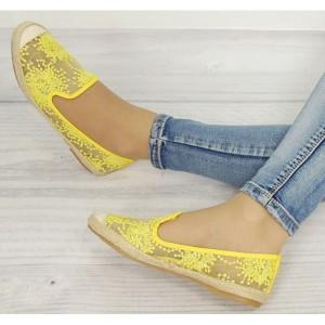 Štýlové dámske espadrilky žltej farby