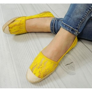 Žlté dámske espadrilky s pletenou špičkou