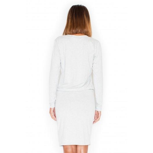 Letné šaty v bielo sivej farbe s dlhým rukávom