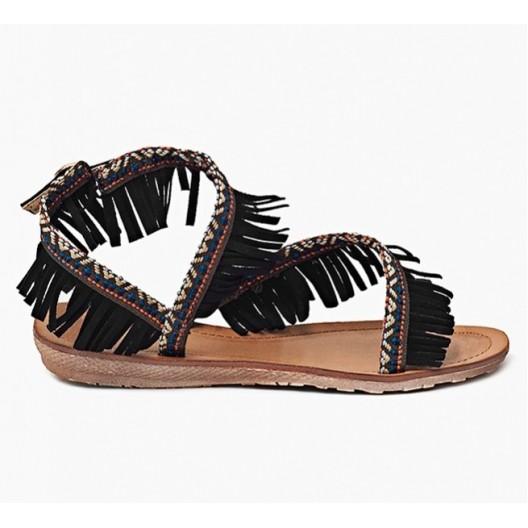 Dámske sandále hnedej farby v indiánskom štýle