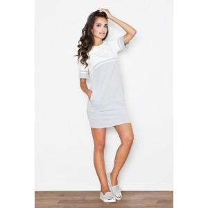 Sivo biele športové letné šaty s vreckami